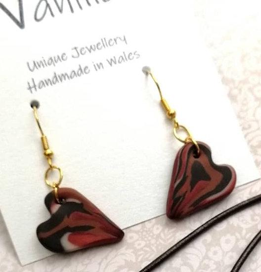 Burnt Orange Heart Drop Earrings