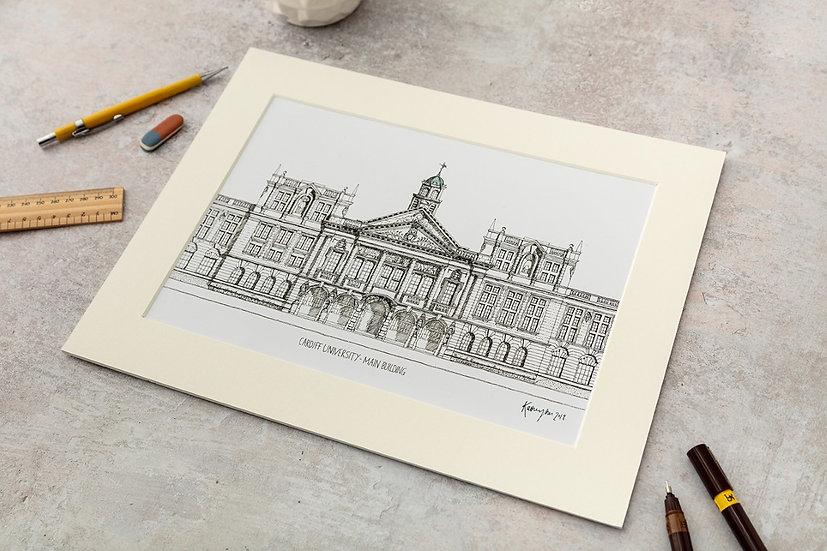 Cardiff University Large Black & White Print