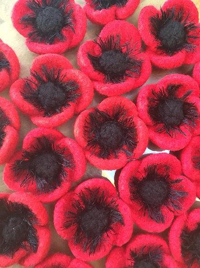 Knitted Felt Poppy Brooch