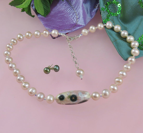 Necklace of Ocean Jasper with Pearls and Crystals