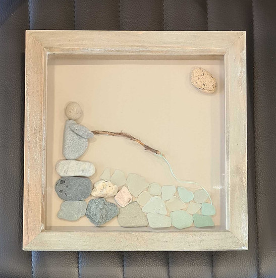 Fisherman Pebble & Sea Glass Framed Picture