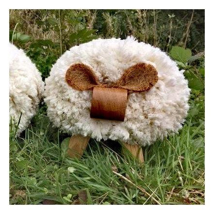 Cream Lamb Footstool