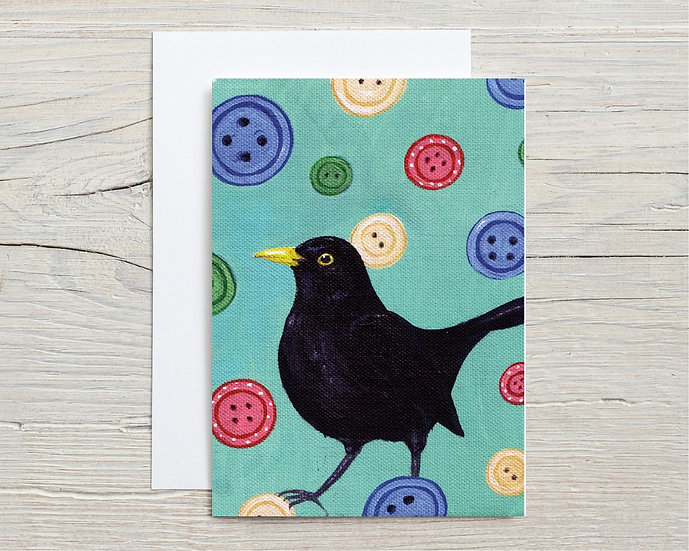 Blackbird with Buttons Greeting Card