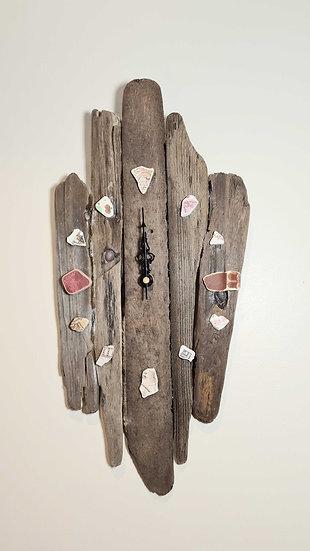 Natural Driftwood Clock With Shades of Brown Sea China