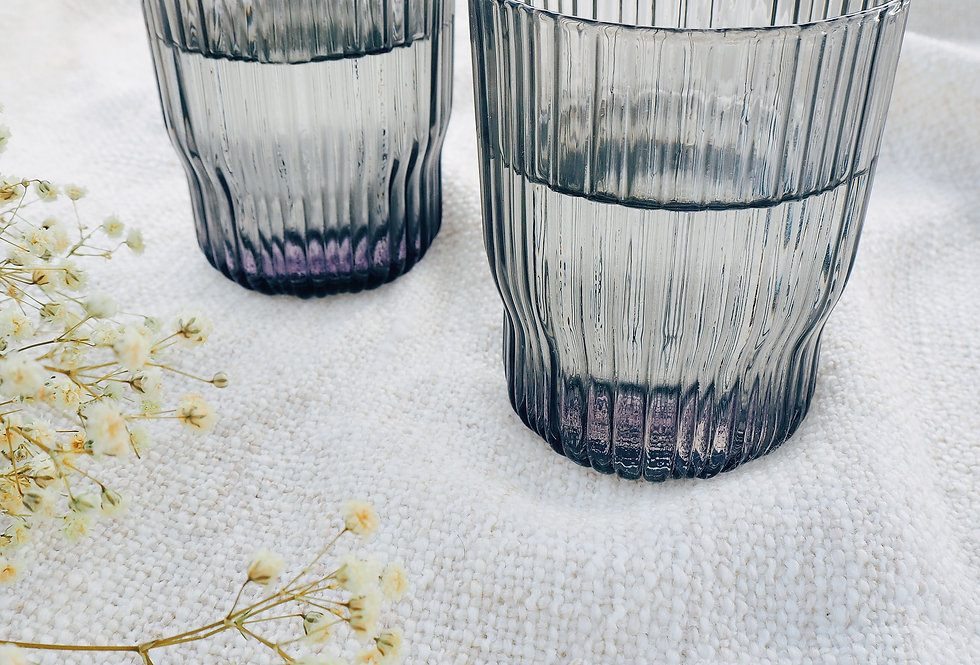 Grey Ribbed Tumbler Glass