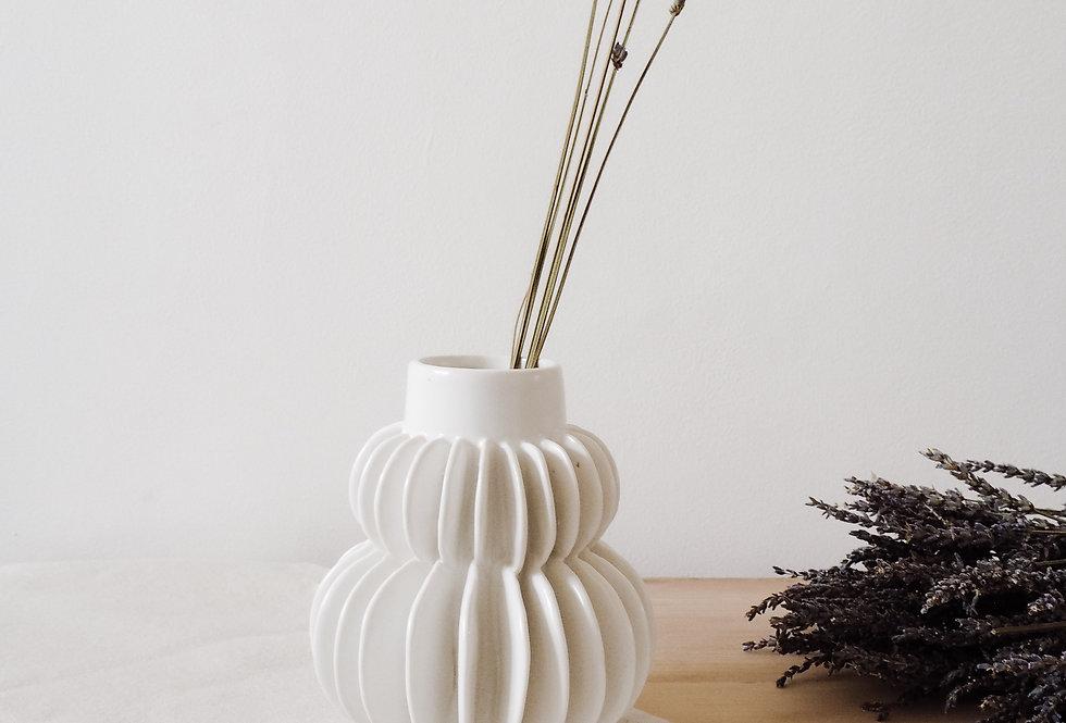 White Curved Stoneware Vase