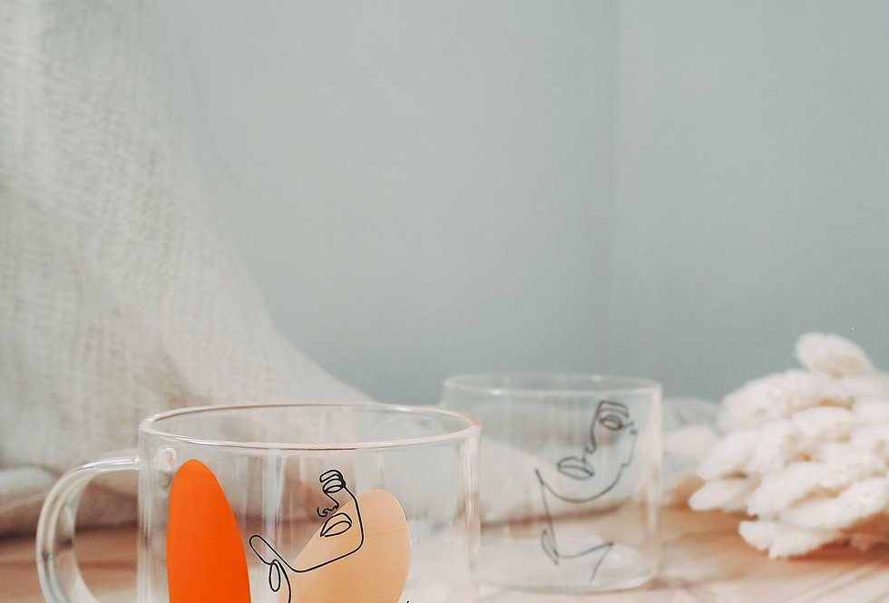 Illustrated Portrait Glass Coffee Mug