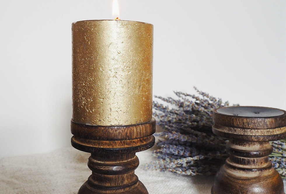 Small Dark Wood Pillar Candle Holder