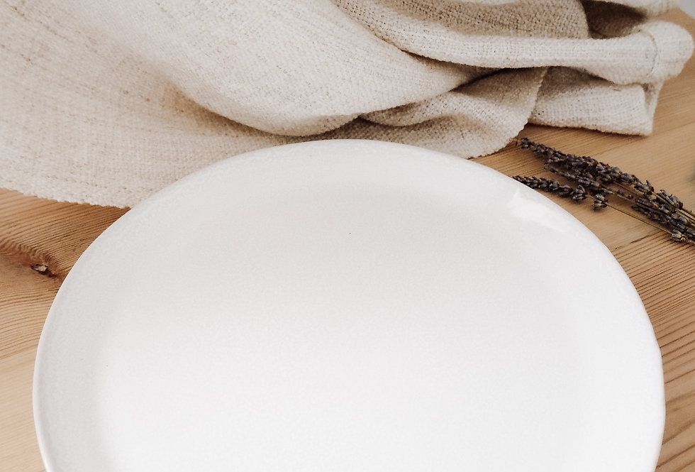 White Speckled Stoneware Large Dinner Plate