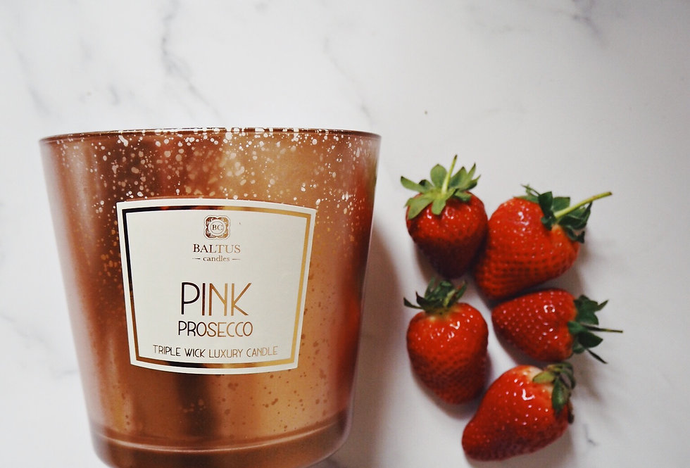 Triple Wick Pink Prosecco Scented Candle