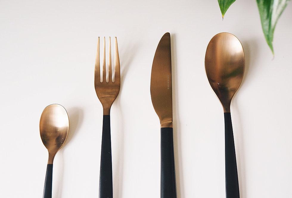 Black & Copper Cutlery Set