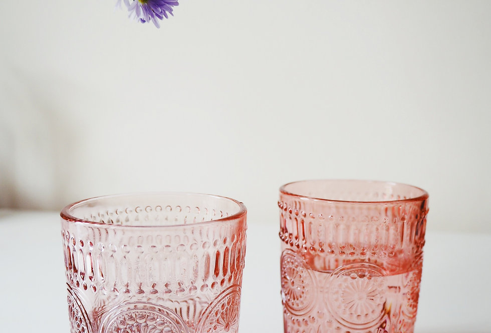 Pink Daisy Embossed Small Glass Tumbler
