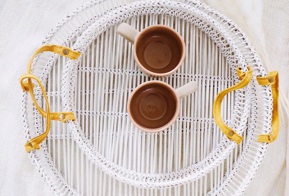 White Bamboo Trays (Set of 2)