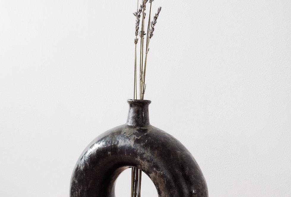 Black 'O' Stoneware Vase