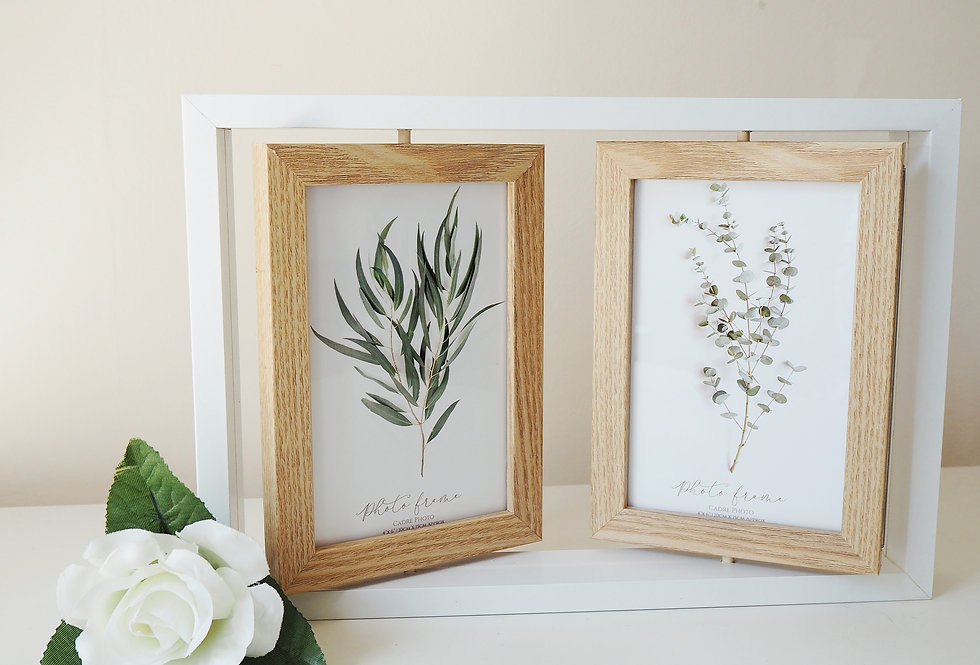 White Wooden Swivel Picture Frame