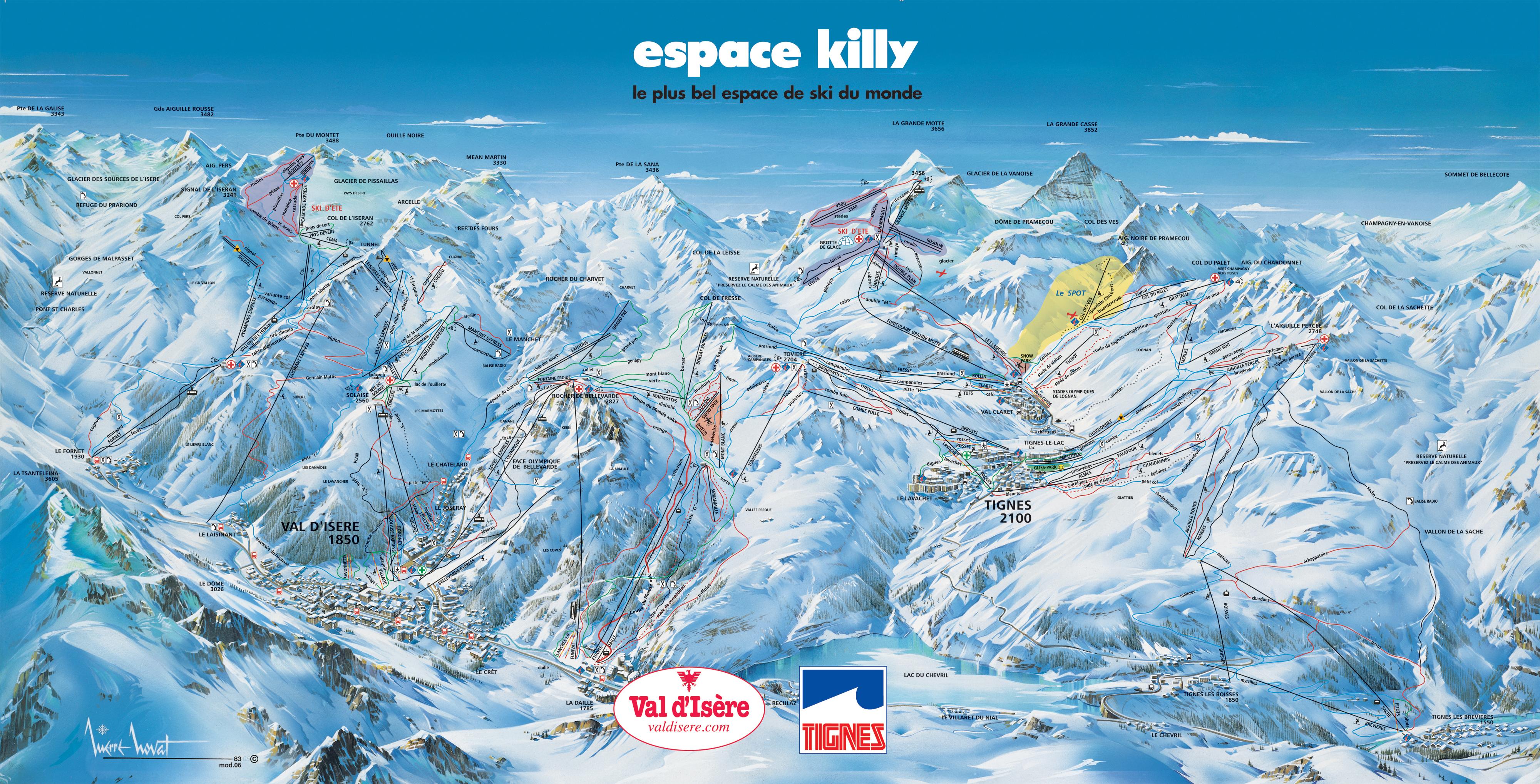 Espace killy ski mapa