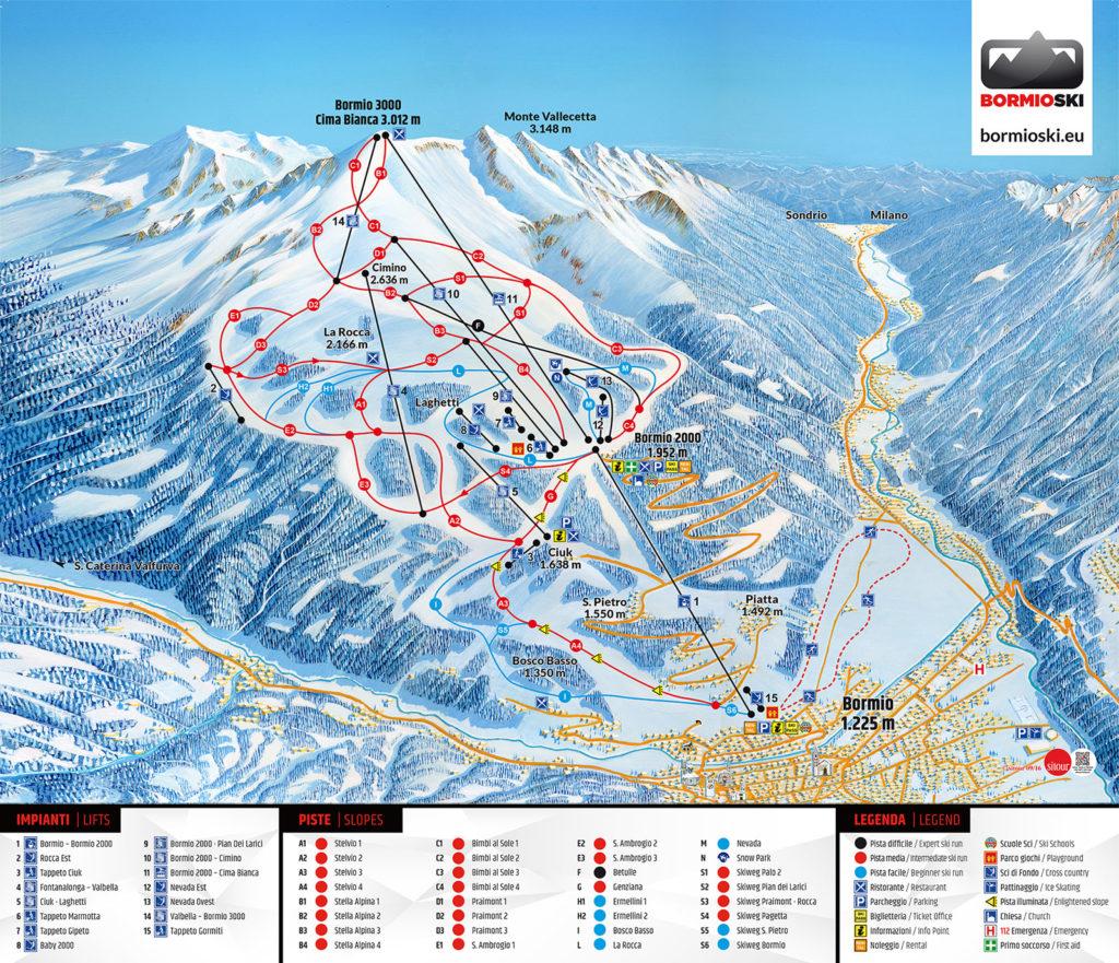 Bormi ski mapa