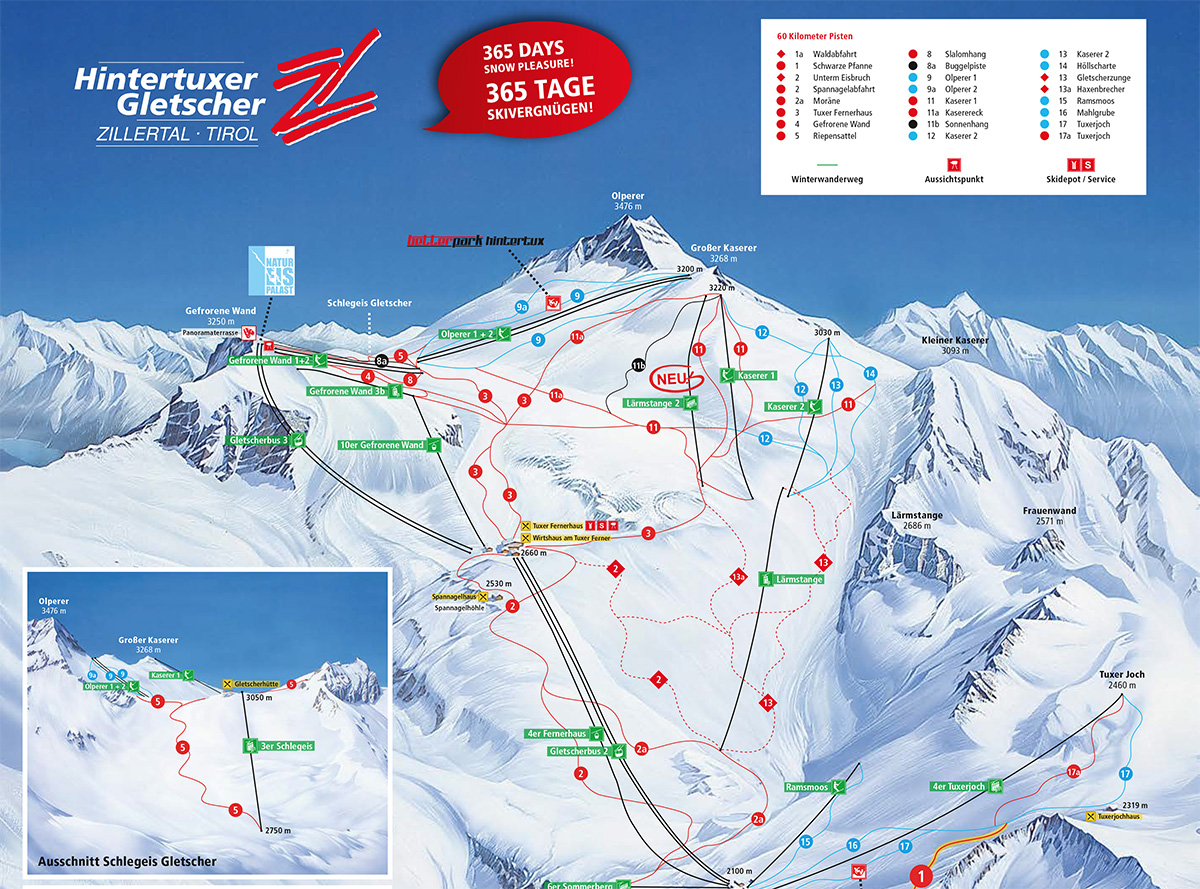 Ski mapa Hintertux