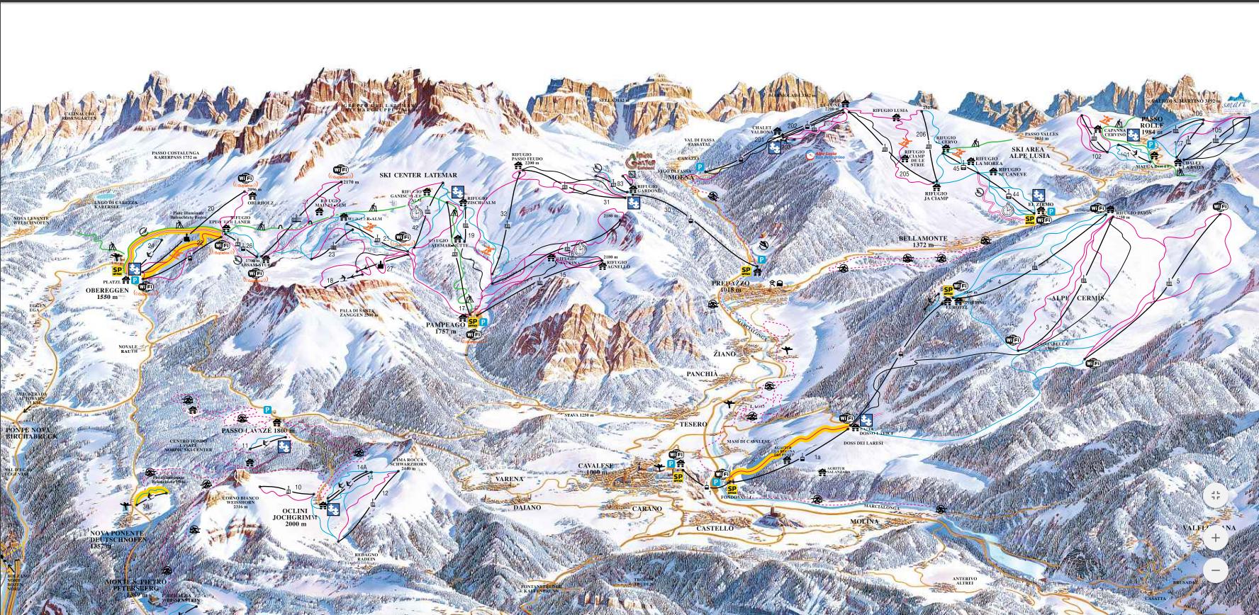 Val di fiemme ski map