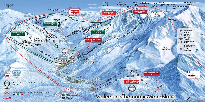 Ski mapa Chamonixa
