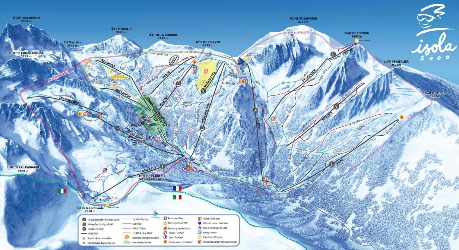 Ski map isola2000