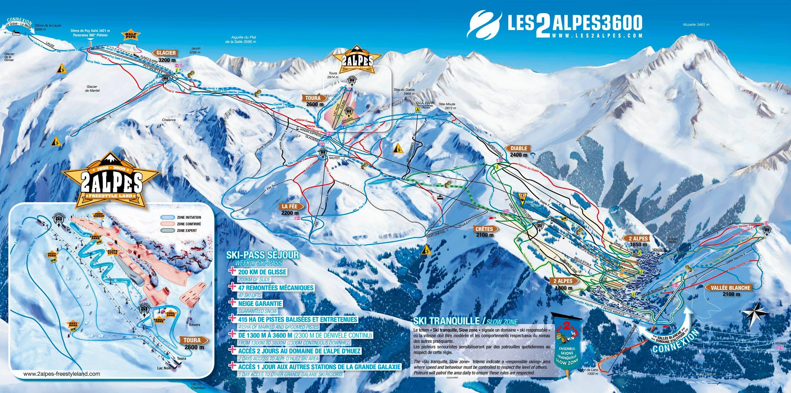 Les 2 Alpes ski map
