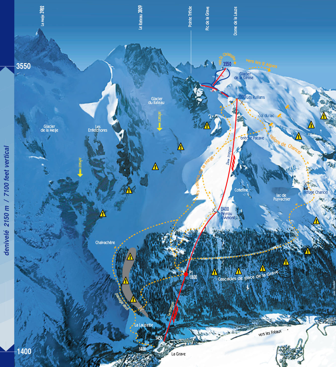 Ski map La grave