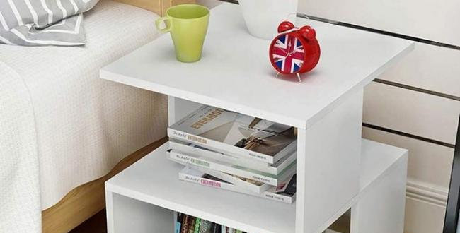 Bed side table with storage-White