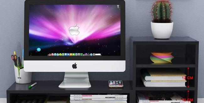 Home2go Screen Stand + Storage shelf - Black