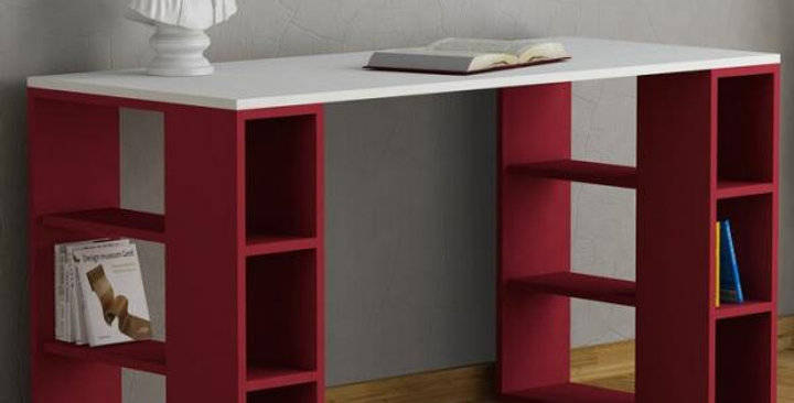 Modern Desk office with side shelves - white and red