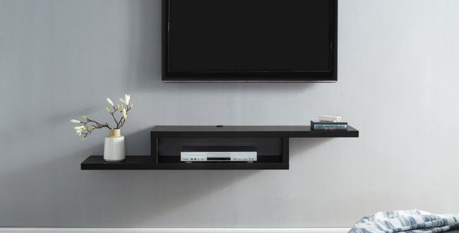 TV Floating Shelf, 135 cm - Black