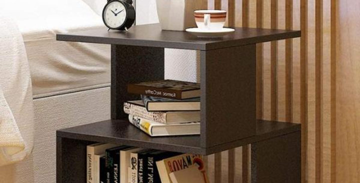 Bed side table with storage-Black