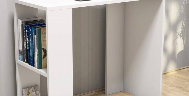 Modern studying Desk office with side shelves - white