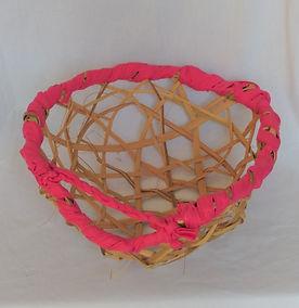 Pink palm branch harvesting basket top v