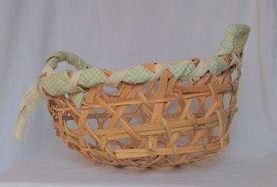 green palm branch harvesting basket side
