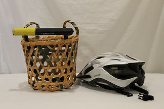 Green openweve bicycle basket with props