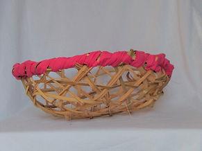 pink palm branch harvesting basket side