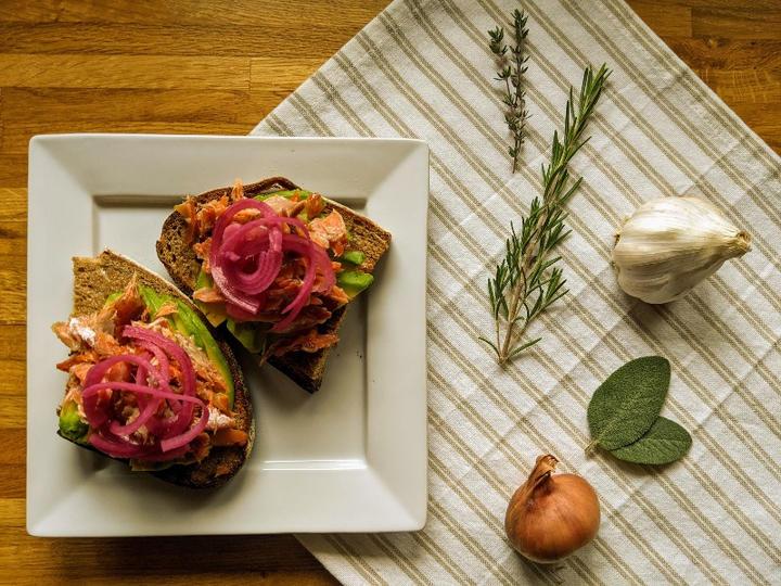 Candied King Salmon Avocado Toast