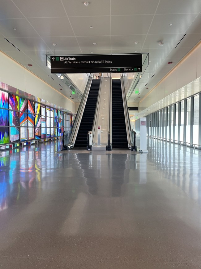 Polished Concrete Floor at San Francisco Airport AirTrain lobby