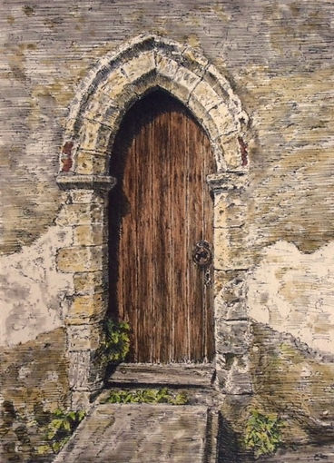 Here's a submission Elevate received of a drawing of a door in Mautby Church, Norfolk done in pen, brush, and ink.