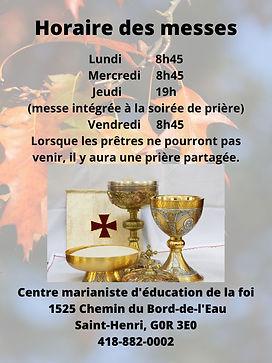 Affiche horaire des messes automne 2020.