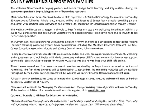 Online Wellbeing Support for Families