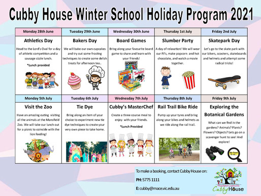Book in for some school holiday fun at Mansfield Cubby House