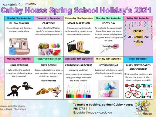 Updated School Holiday Program