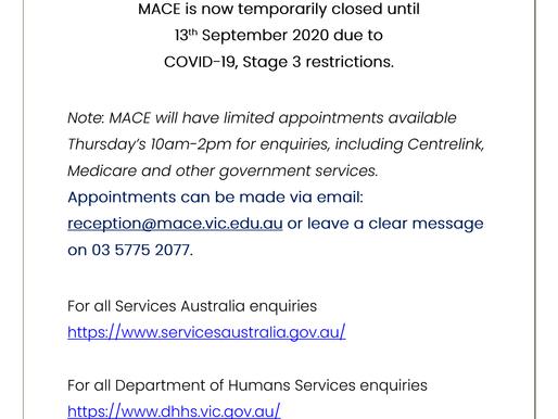 MACE Closure Notice: COVID-19
