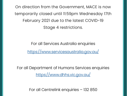 MACE Closure: COVID-19 Update