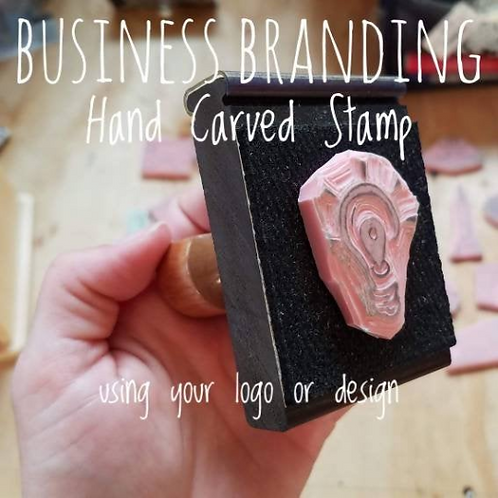 Business Branding Stamp, Hand Carved (no handle, stamp only)
