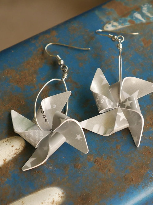 Pinwheel earrings - upcycled gift cards