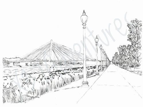 Berkley Riverfront Park - hand drawn coloring page