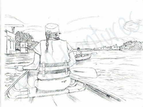 Summer on the Missouri - hand drawn coloring page